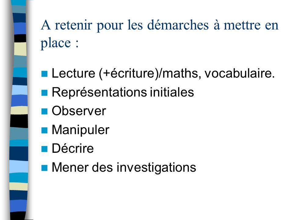 A retenir pour les démarches à mettre en place : Lecture (+écriture)/maths, vocabulaire. Représentations initiales Observer Manipuler Décrire Mener de