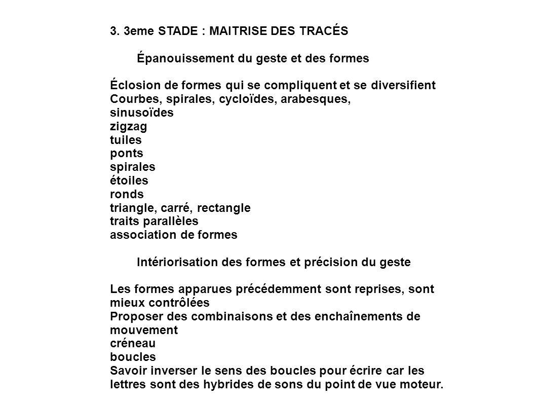 3. 3eme STADE : MAITRISE DES TRACÉS Épanouissement du geste et des formes Éclosion de formes qui se compliquent et se diversifient Courbes, spirales,