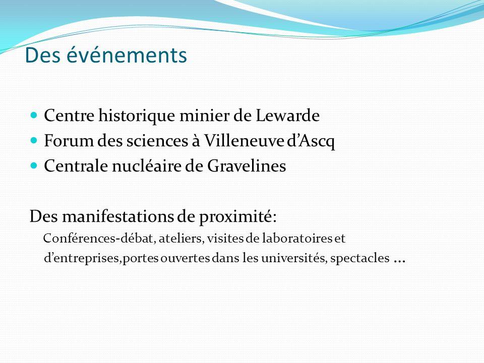 Des événements Centre historique minier de Lewarde Forum des sciences à Villeneuve dAscq Centrale nucléaire de Gravelines Des manifestations de proxim