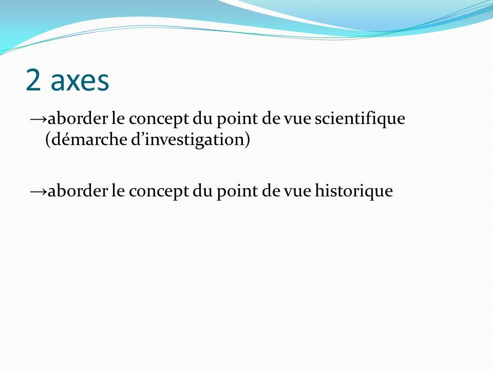 2 axes aborder le concept du point de vue scientifique (démarche dinvestigation) aborder le concept du point de vue historique