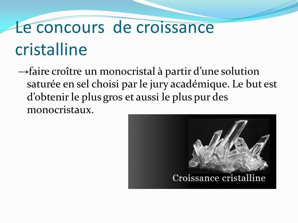 Le concours de croissance cristalline faire croître un monocristal à partir dune solution saturée en sel choisi par le jury académique. Le but est dob