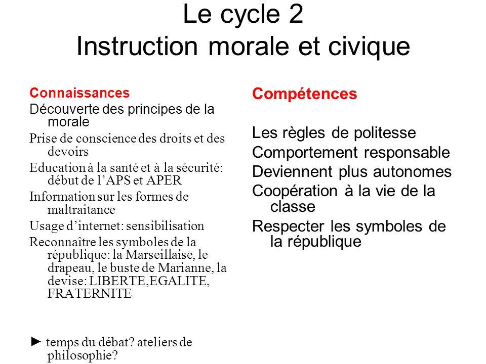 Le cycle 2 Instruction morale et civique Connaissances Découverte des principes de la morale Prise de conscience des droits et des devoirs Education à