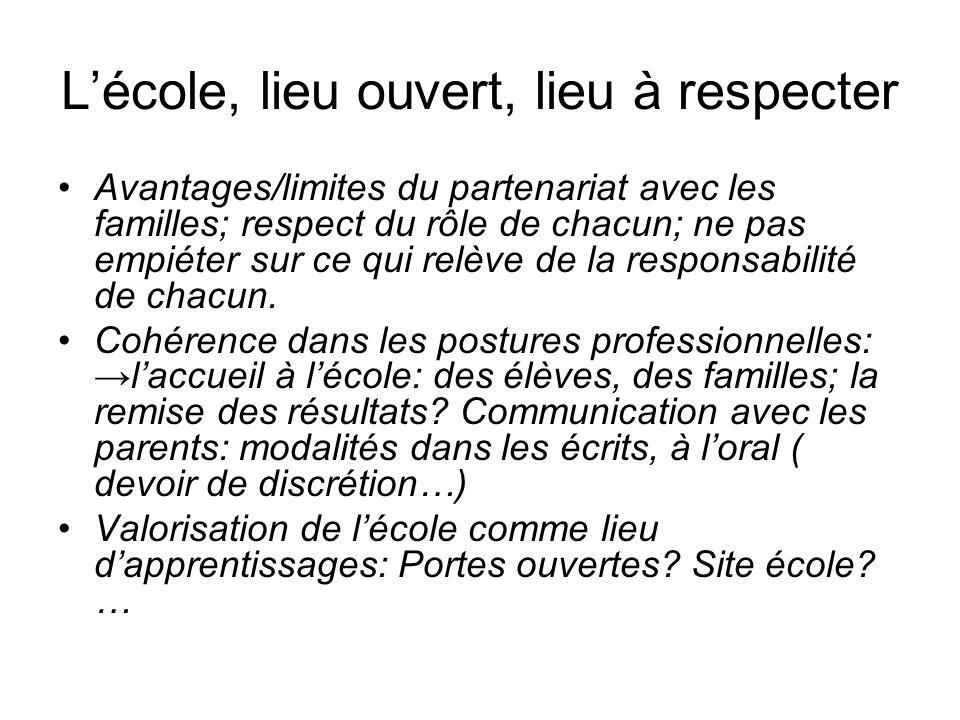 Lécole, lieu ouvert, lieu à respecter Avantages/limites du partenariat avec les familles; respect du rôle de chacun; ne pas empiéter sur ce qui relève