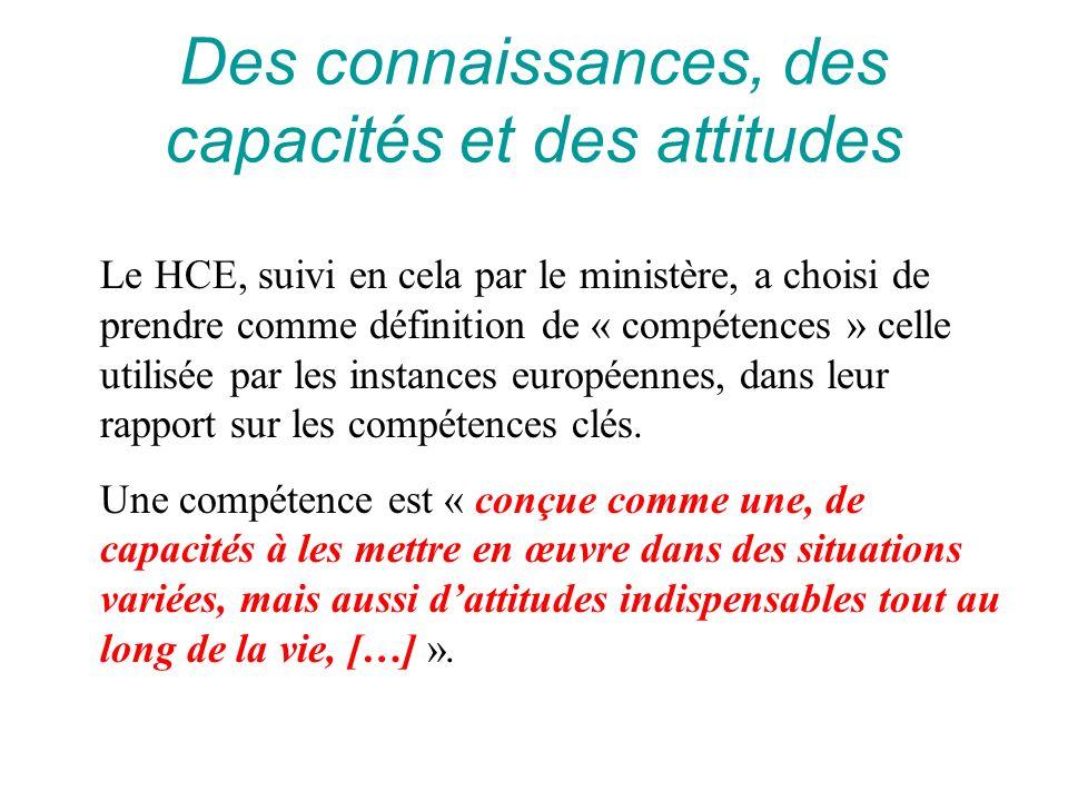 Des connaissances, des capacités et des attitudes Le HCE, suivi en cela par le ministère, a choisi de prendre comme définition de « compétences » cell