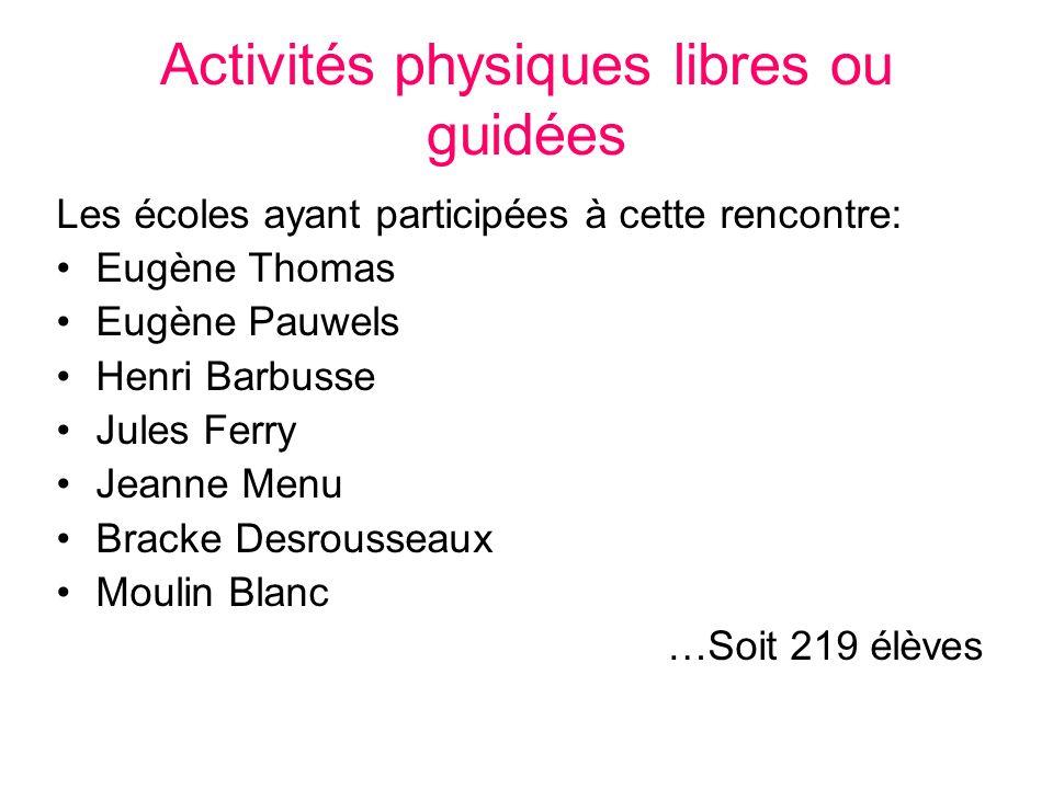 Activités physiques libres ou guidées Les écoles ayant participées à cette rencontre: Eugène Thomas Eugène Pauwels Henri Barbusse Jules Ferry Jeanne M