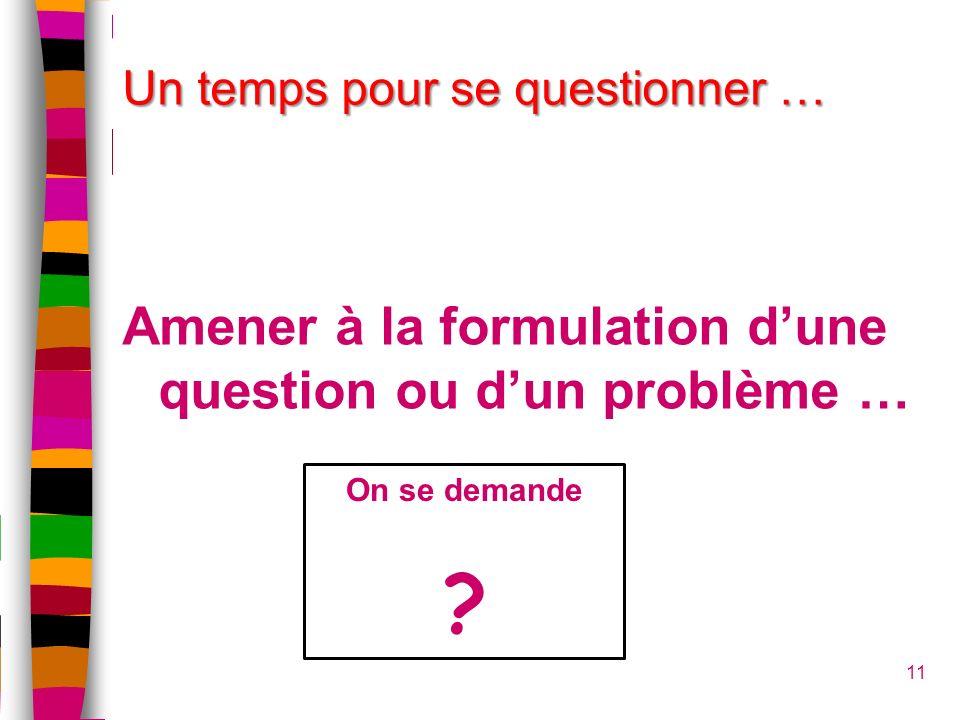 11 Un temps pour se questionner … Amener à la formulation dune question ou dun problème … On se demande ?