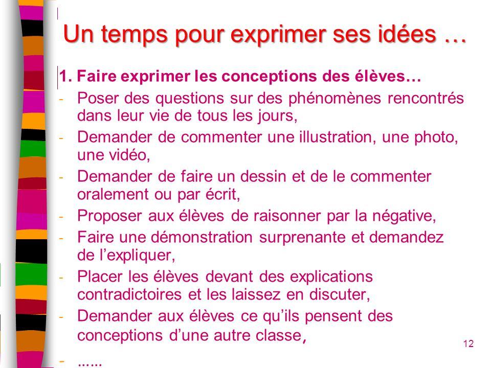12 Un temps pour exprimer ses idées … 1. Faire exprimer les conceptions des élèves… - Poser des questions sur des phénomènes rencontrés dans leur vie