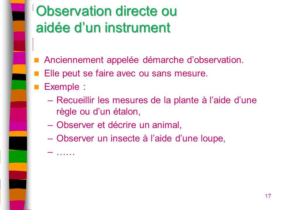 17 Observation directe ou aidée dun instrument Anciennement appelée démarche dobservation. Elle peut se faire avec ou sans mesure. Exemple : –Recueill