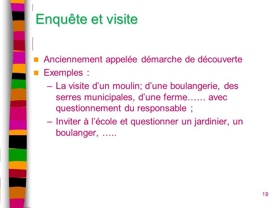 19 Enquête et visite Anciennement appelée démarche de découverte Exemples : –La visite dun moulin; dune boulangerie, des serres municipales, dune ferm