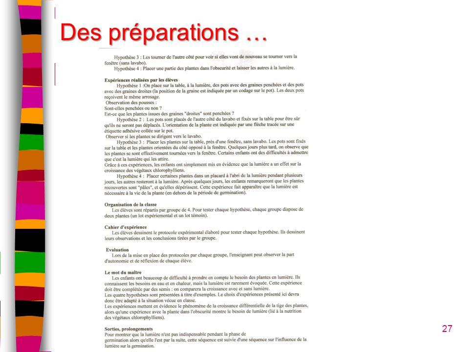 27 Des préparations …