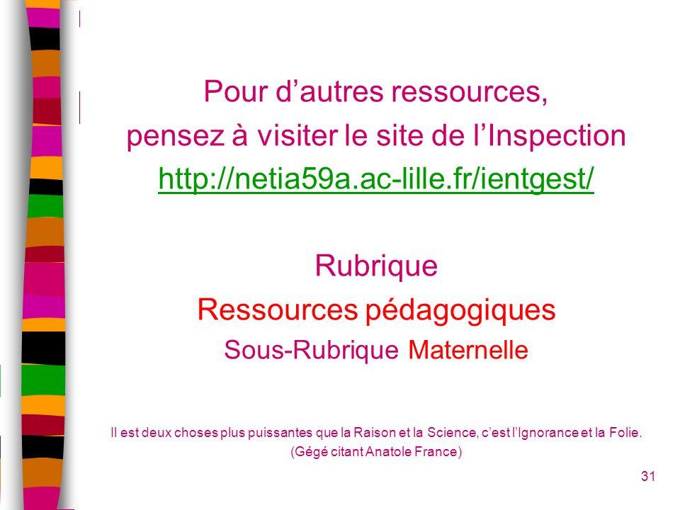 Pour dautres ressources, pensez à visiter le site de lInspection http://netia59a.ac-lille.fr/ientgest/ Rubrique Ressources pédagogiques Sous-Rubrique