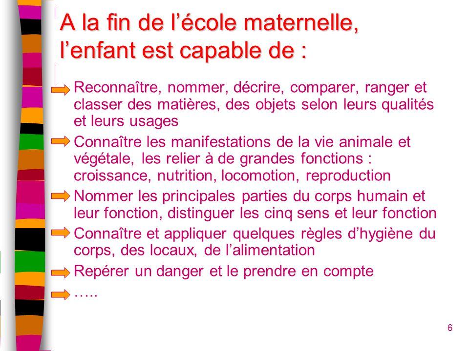 A la fin de lécole maternelle, lenfant est capable de : 6 Reconnaître, nommer, décrire, comparer, ranger et classer des matières, des objets selon leu