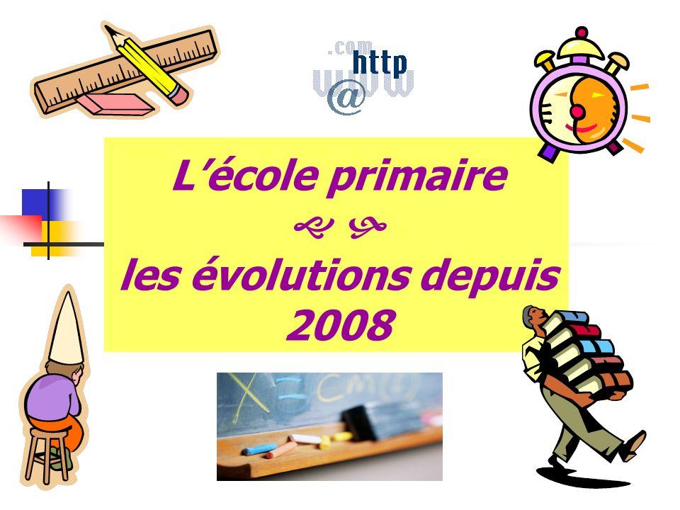 Lécole primaire les évolutions depuis 2008