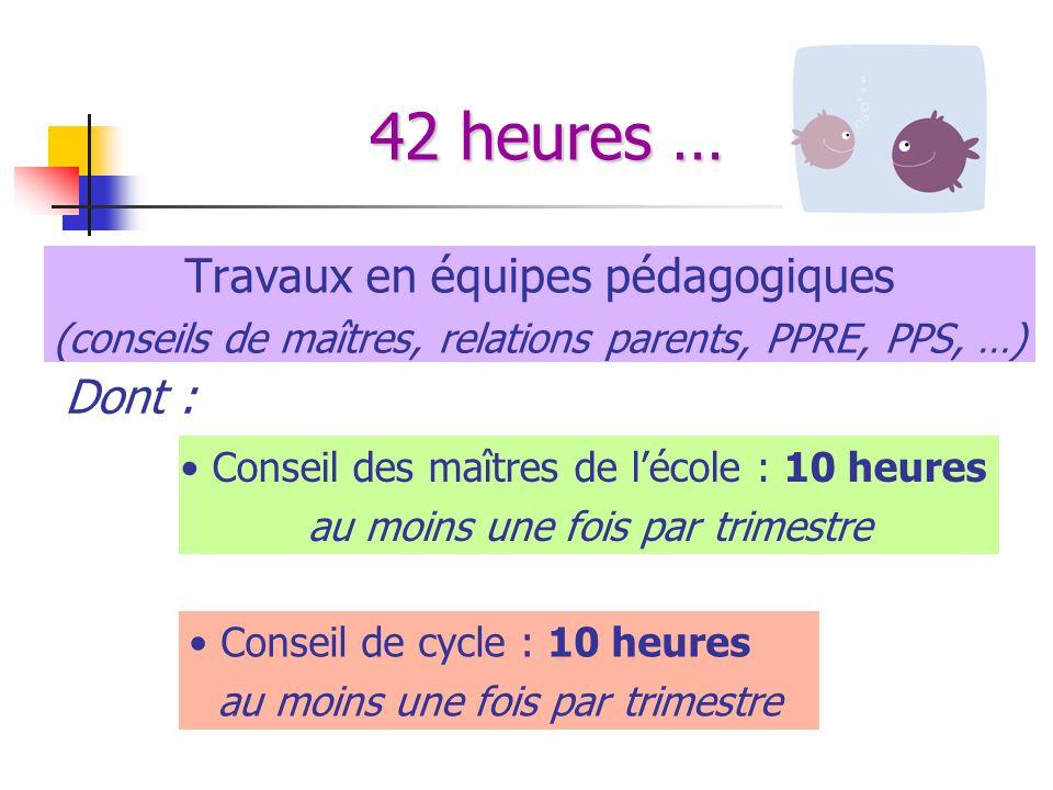 42 heures … Travaux en équipes pédagogiques (conseils de maîtres, relations parents, PPRE, PPS, …) Conseil des maîtres de lécole : 10 heures au moins