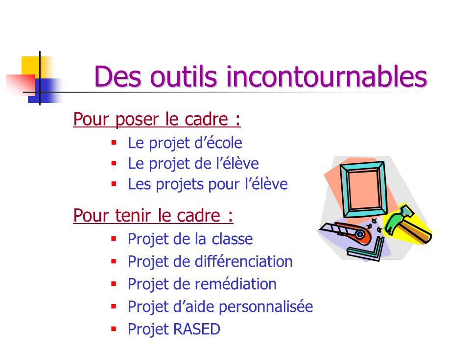 Des outils incontournables Le projet décole Le projet de lélève Les projets pour lélève Pour poser le cadre : Pour tenir le cadre : Projet de la class