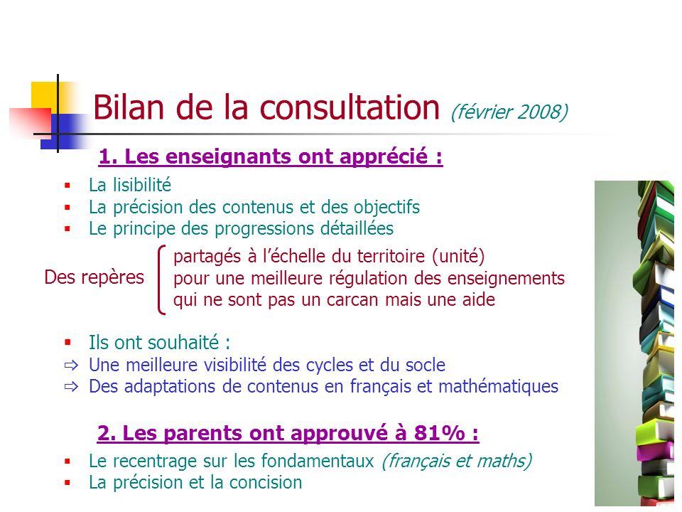 Bilan de la consultation (février 2008) 1. Les enseignants ont apprécié : La lisibilité La précision des contenus et des objectifs Le principe des pro