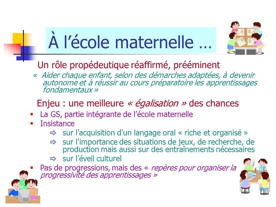 À lécole maternelle … « Aider chaque enfant, selon des démarches adaptées, à devenir autonome et à réussir au cours préparatoire les apprentissages fo