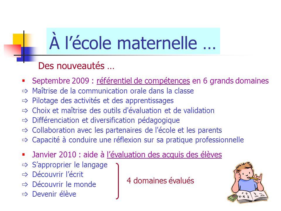 À lécole maternelle … Des nouveautés … Septembre 2009 : référentiel de compétences en 6 grands domaines Maîtrise de la communication orale dans la cla