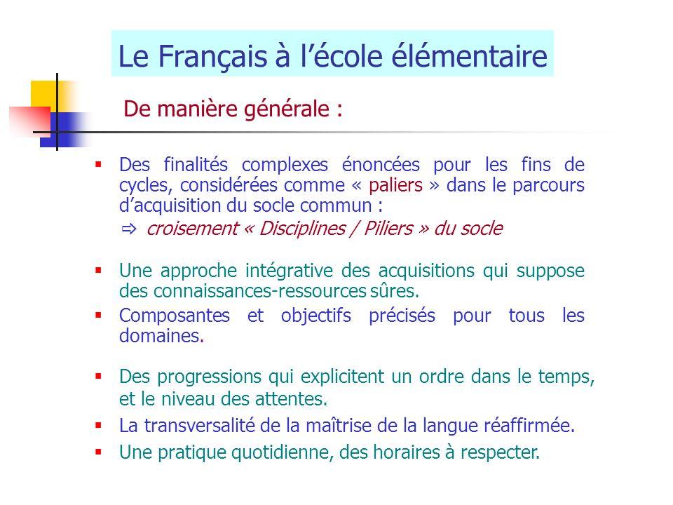 Le Français à lécole élémentaire De manière générale : Des finalités complexes énoncées pour les fins de cycles, considérées comme « paliers » dans le