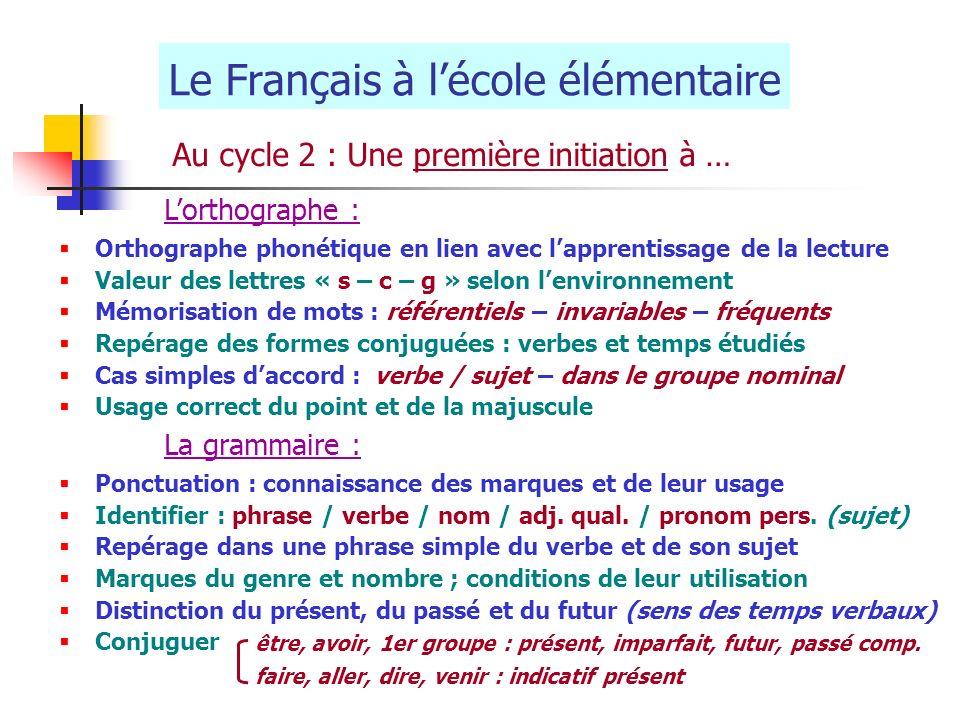 Le Français à lécole élémentaire Au cycle 2 : Une première initiation à … Lorthographe : Orthographe phonétique en lien avec lapprentissage de la lect