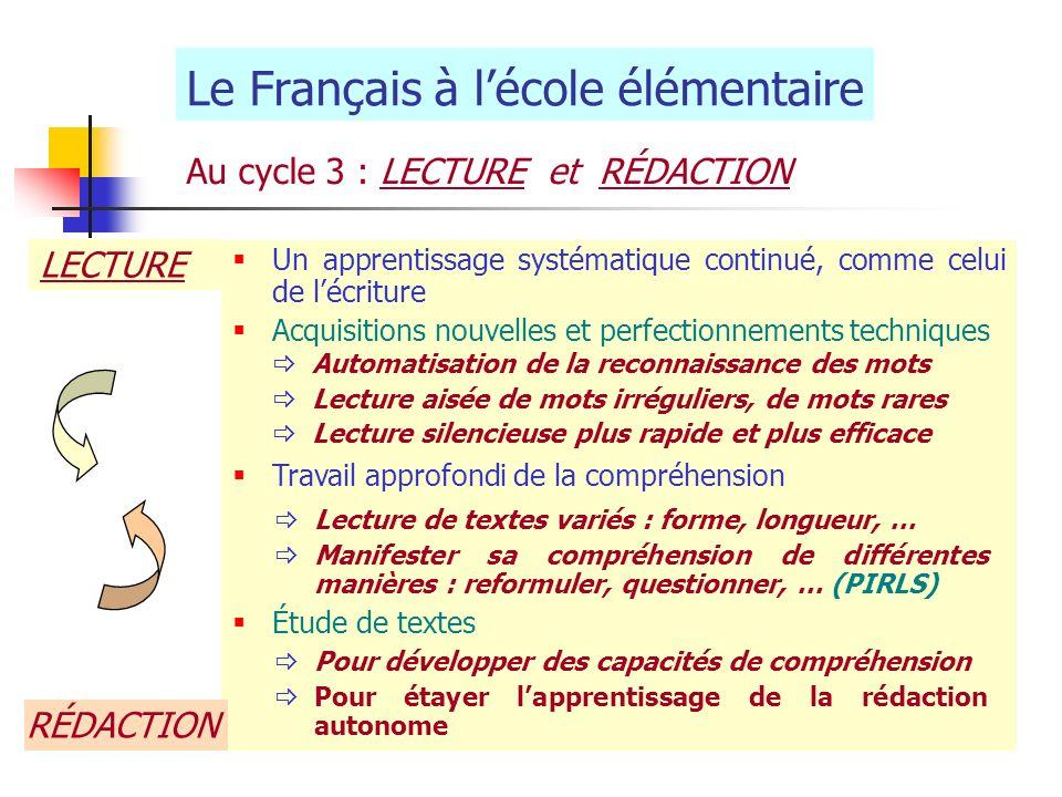 Le Français à lécole élémentaire Au cycle 3 : LECTURE et RÉDACTION Un apprentissage systématique continué, comme celui de lécriture Acquisitions nouve