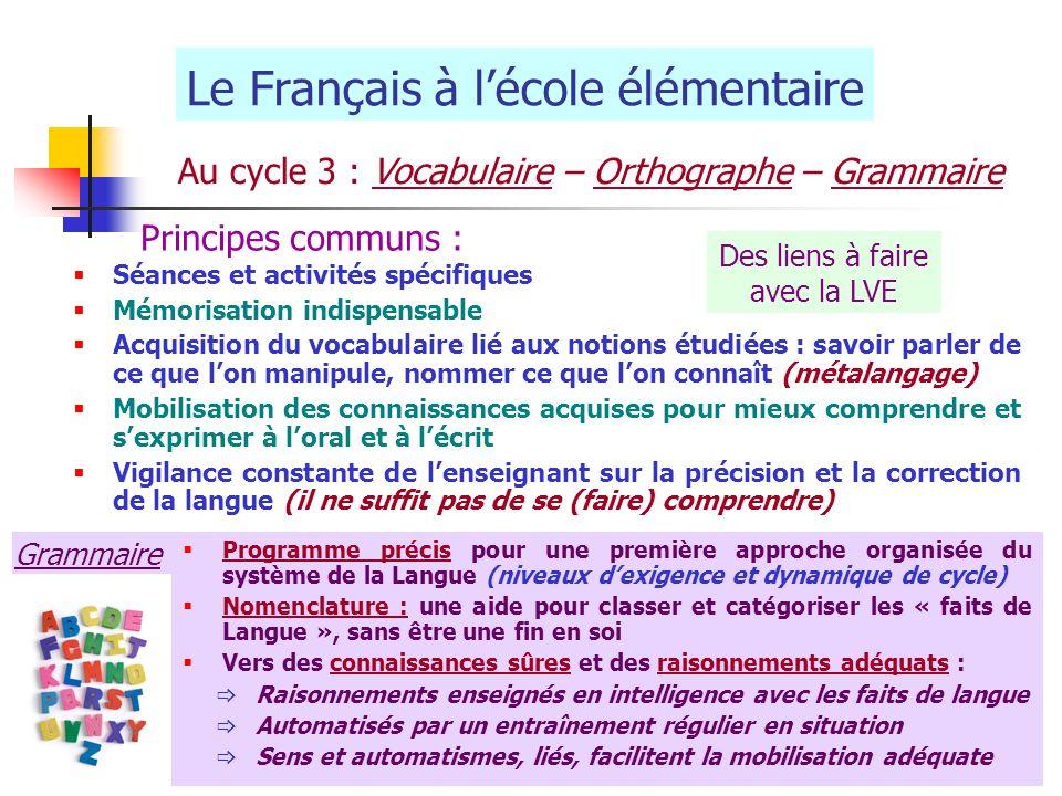 Le Français à lécole élémentaire Au cycle 3 : Vocabulaire – Orthographe – Grammaire Séances et activités spécifiques Mémorisation indispensable Acquis