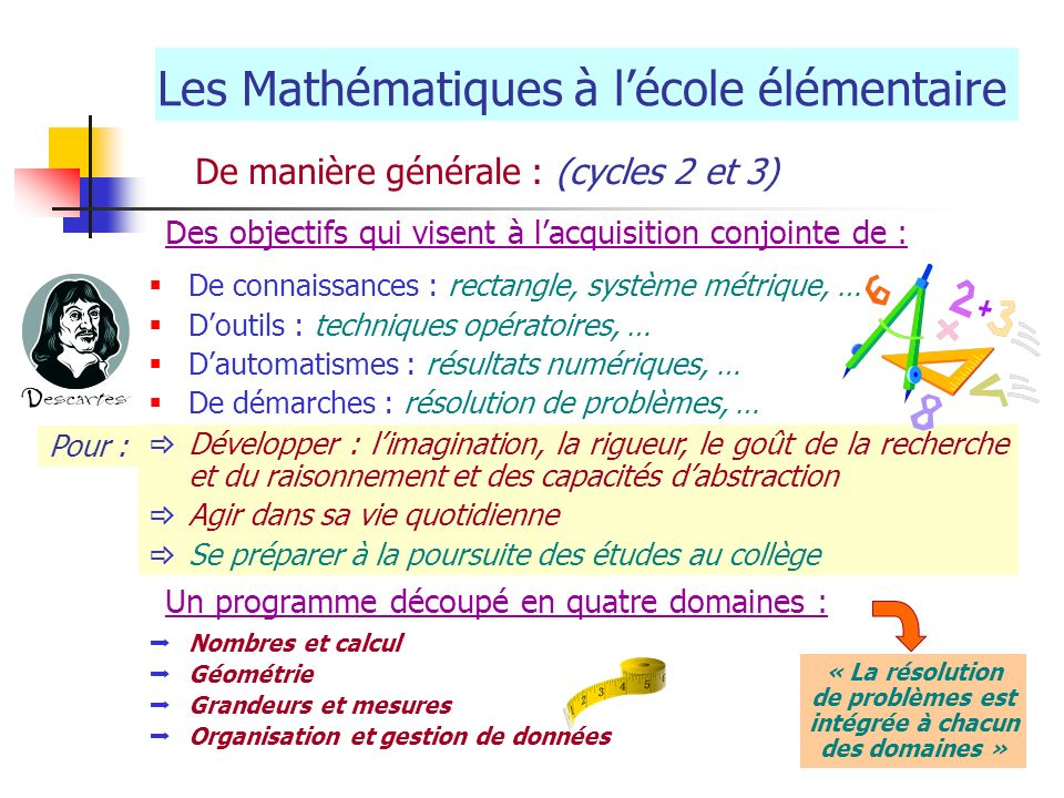 Les Mathématiques à lécole élémentaire De manière générale : (cycles 2 et 3) De connaissances : rectangle, système métrique, … Doutils : techniques op