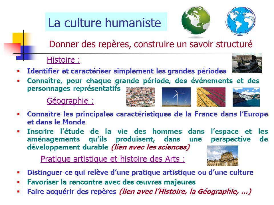 La culture humaniste Donner des repères, construire un savoir structuré Histoire : Identifier et caractériser simplement les grandes périodes Connaîtr