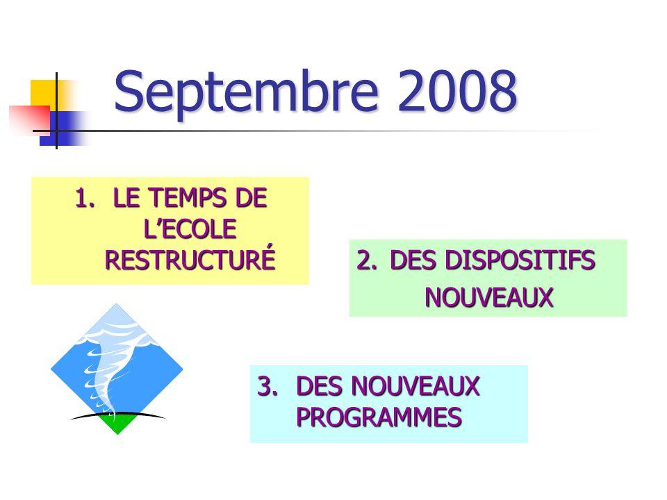 Septembre 2008 3.DES NOUVEAUX PROGRAMMES 1.LE TEMPS DE LECOLE RESTRUCTURÉ 2.DES DISPOSITIFS NOUVEAUX