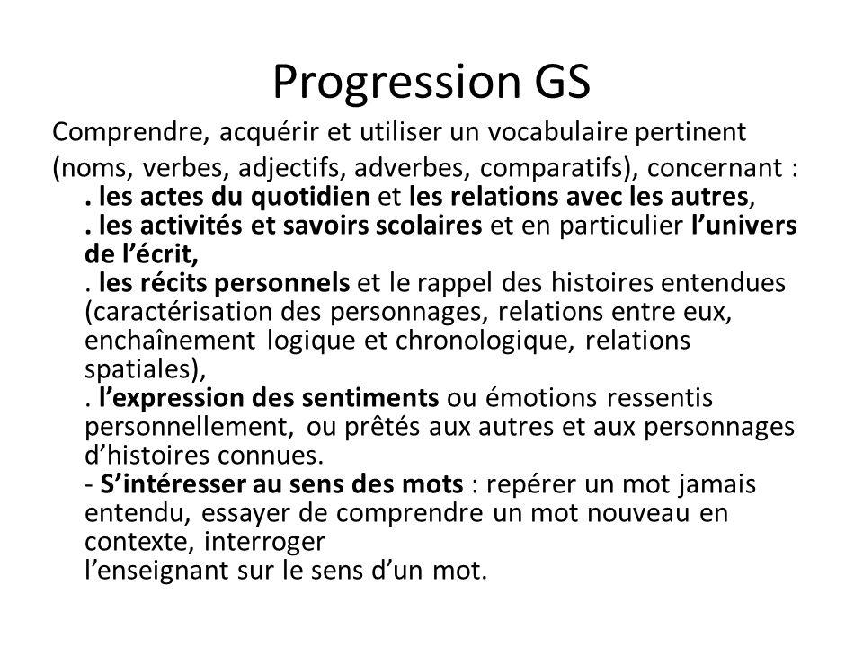Progression GS Comprendre, acquérir et utiliser un vocabulaire pertinent (noms, verbes, adjectifs, adverbes, comparatifs), concernant :.