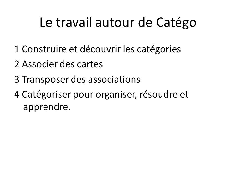 Le travail autour de Catégo 1 Construire et découvrir les catégories 2 Associer des cartes 3 Transposer des associations 4 Catégoriser pour organiser, résoudre et apprendre.