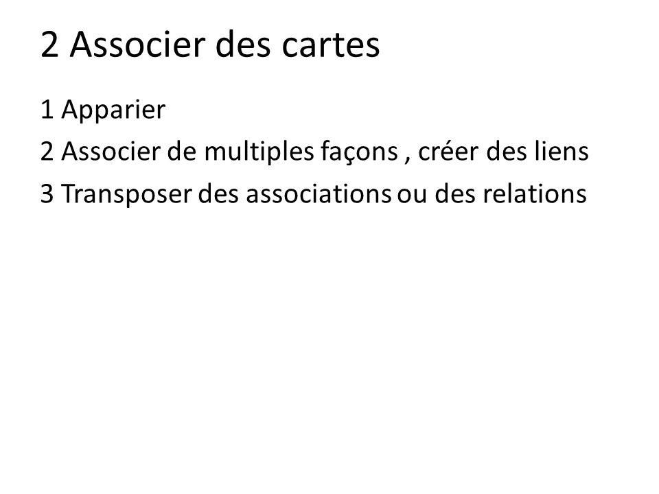 2 Associer des cartes 1 Apparier 2 Associer de multiples façons, créer des liens 3 Transposer des associations ou des relations