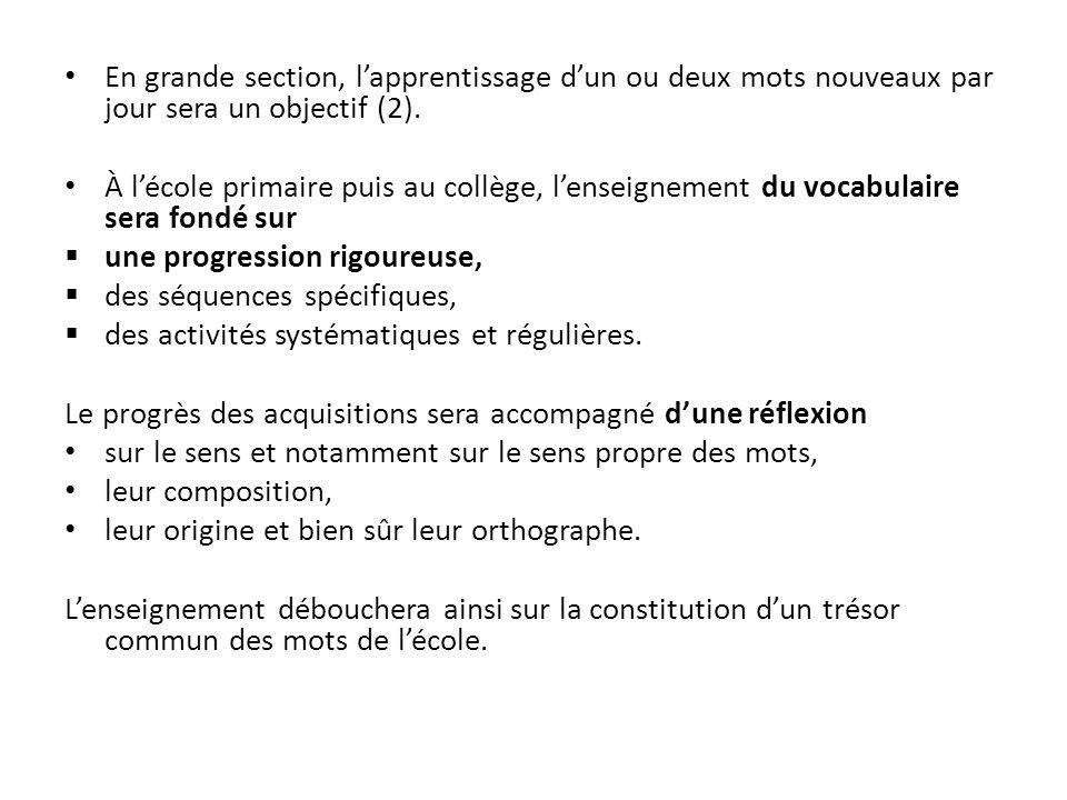 En grande section, lapprentissage dun ou deux mots nouveaux par jour sera un objectif (2).