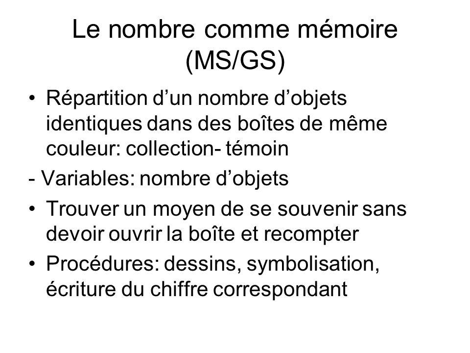 Le nombre comme mémoire (MS/GS) Répartition dun nombre dobjets identiques dans des boîtes de même couleur: collection- témoin - Variables: nombre dobj