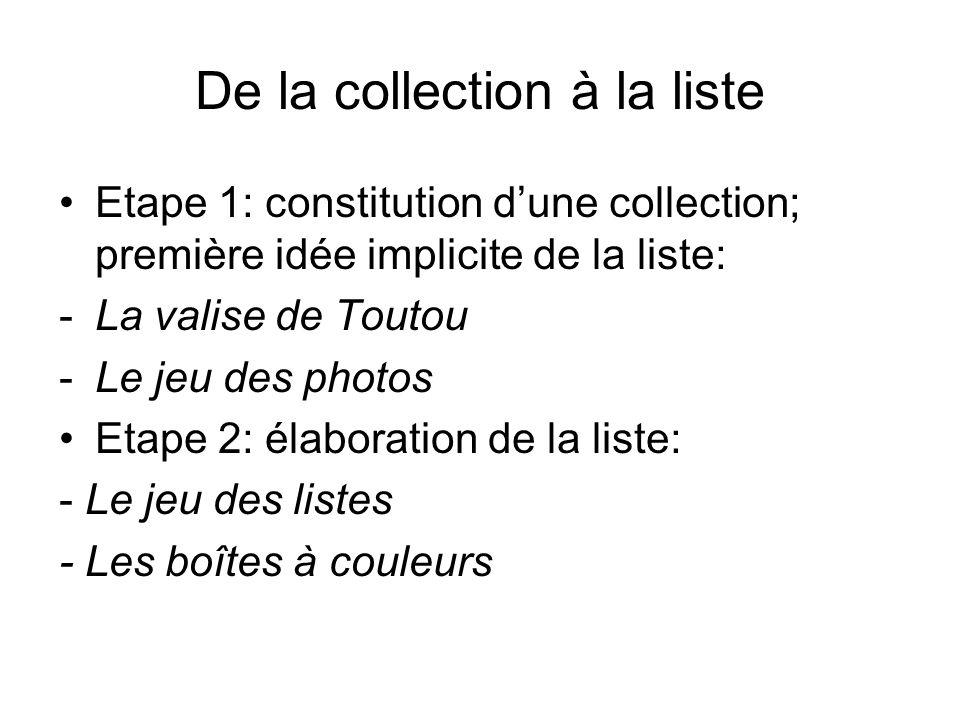 De la collection à la liste Etape 1: constitution dune collection; première idée implicite de la liste: -La valise de Toutou -Le jeu des photos Etape
