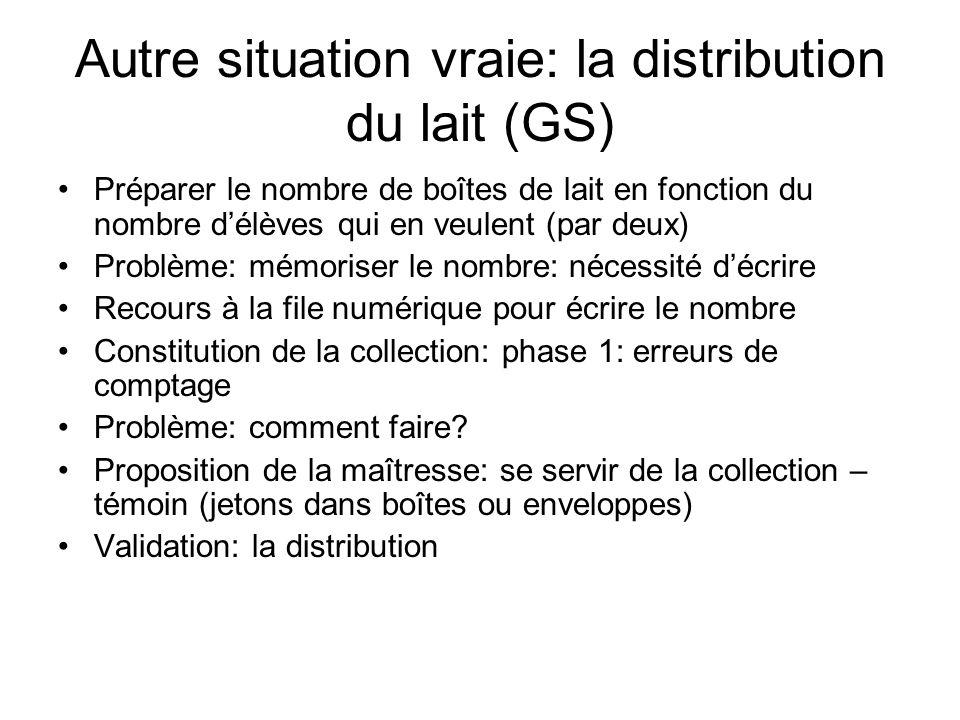 Autre situation vraie: la distribution du lait (GS) Préparer le nombre de boîtes de lait en fonction du nombre délèves qui en veulent (par deux) Probl