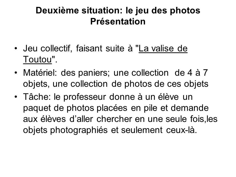 Deuxième situation: le jeu des photos Présentation Jeu collectif, faisant suite à