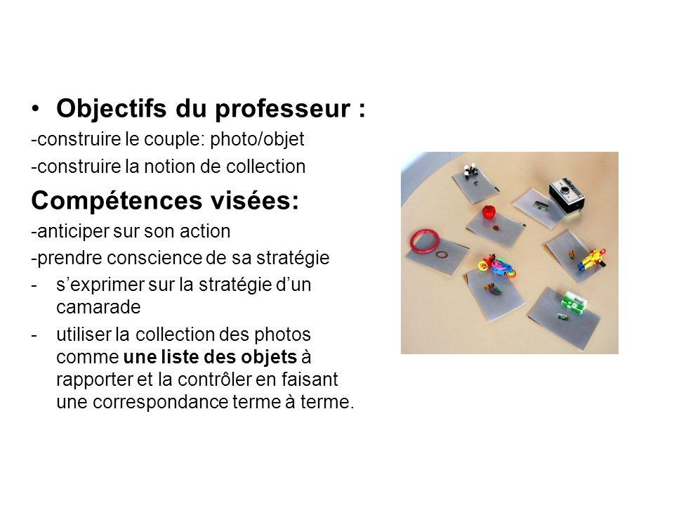 Objectifs du professeur : -construire le couple: photo/objet -construire la notion de collection Compétences visées: -anticiper sur son action -prendr