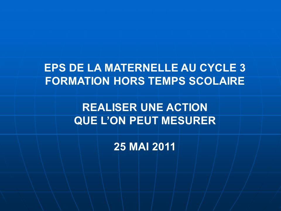 EPS DE LA MATERNELLE AU CYCLE 3 FORMATION HORS TEMPS SCOLAIRE REALISER UNE ACTION QUE LON PEUT MESURER 25 MAI 2011