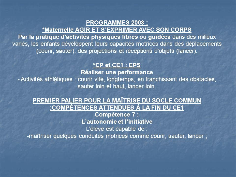 PROGRAMMES 2008 : *Maternelle AGIR ET SEXPRIMER AVEC SON CORPS Par la pratique dactivités physiques libres ou guidées dans des milieux variés, les enf