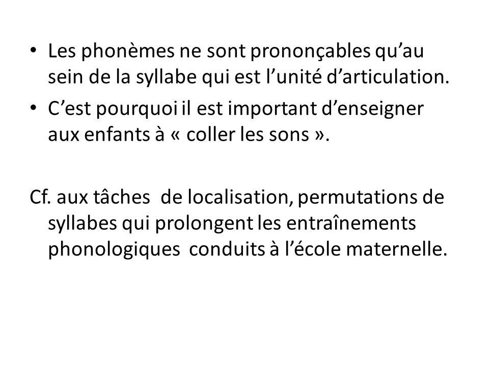 Les phonèmes ne sont prononçables quau sein de la syllabe qui est lunité darticulation. Cest pourquoi il est important denseigner aux enfants à « coll