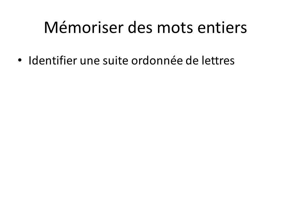 Mémoriser des mots entiers Identifier une suite ordonnée de lettres