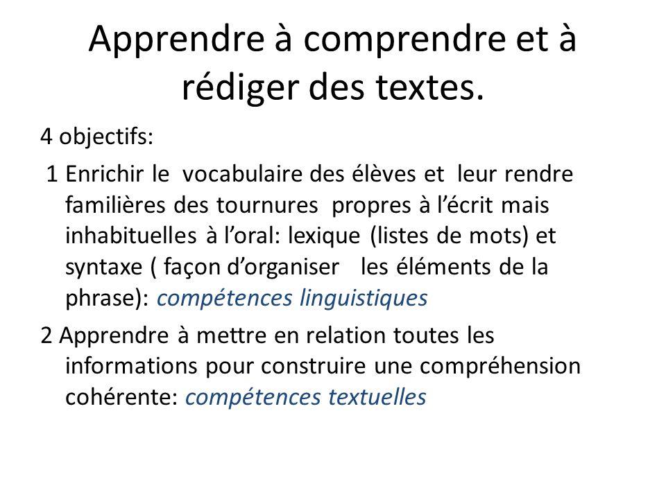 Apprendre à comprendre et à rédiger des textes. 4 objectifs: 1 Enrichir le vocabulaire des élèves et leur rendre familières des tournures propres à lé