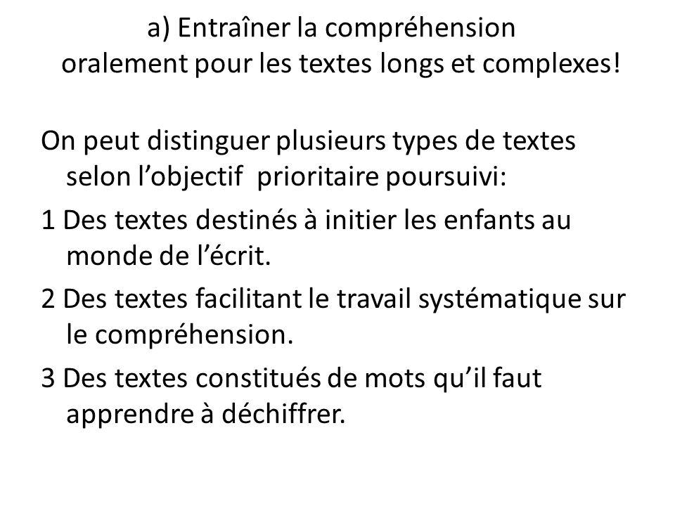 a) Entraîner la compréhension oralement pour les textes longs et complexes! On peut distinguer plusieurs types de textes selon lobjectif prioritaire p