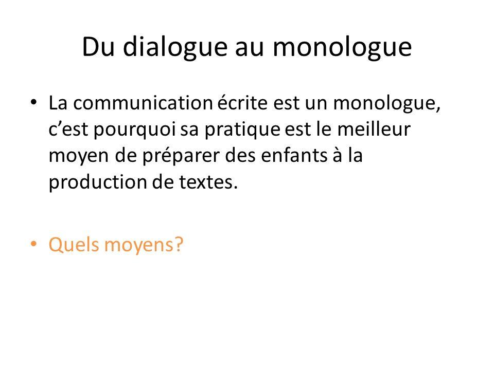 Du dialogue au monologue La communication écrite est un monologue, cest pourquoi sa pratique est le meilleur moyen de préparer des enfants à la produc