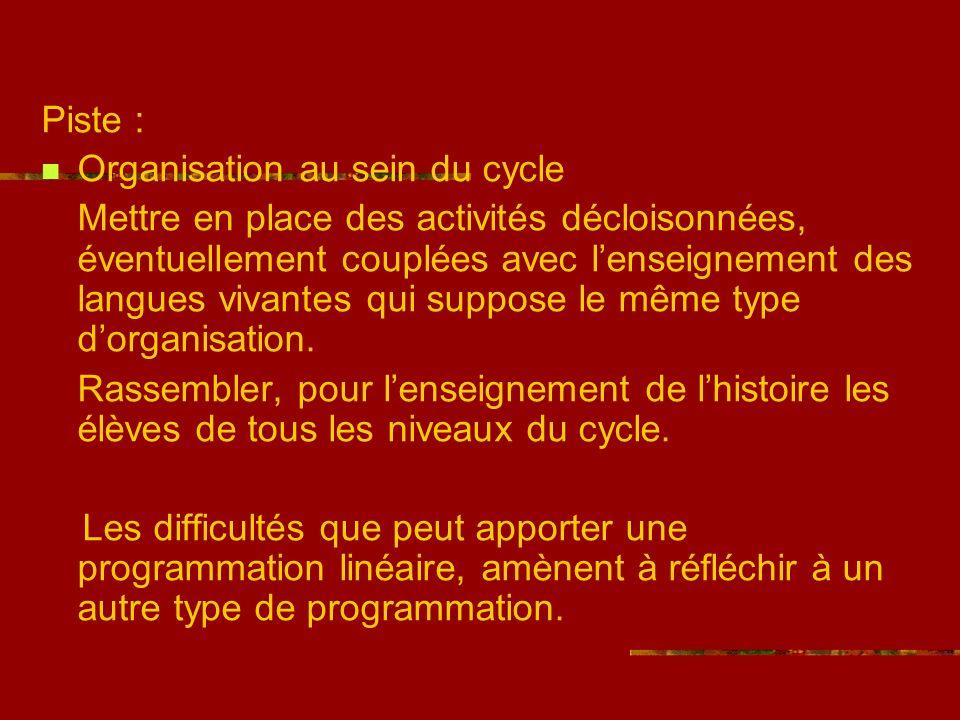 Piste : Organisation au sein du cycle Mettre en place des activités décloisonnées, éventuellement couplées avec lenseignement des langues vivantes qui suppose le même type dorganisation.
