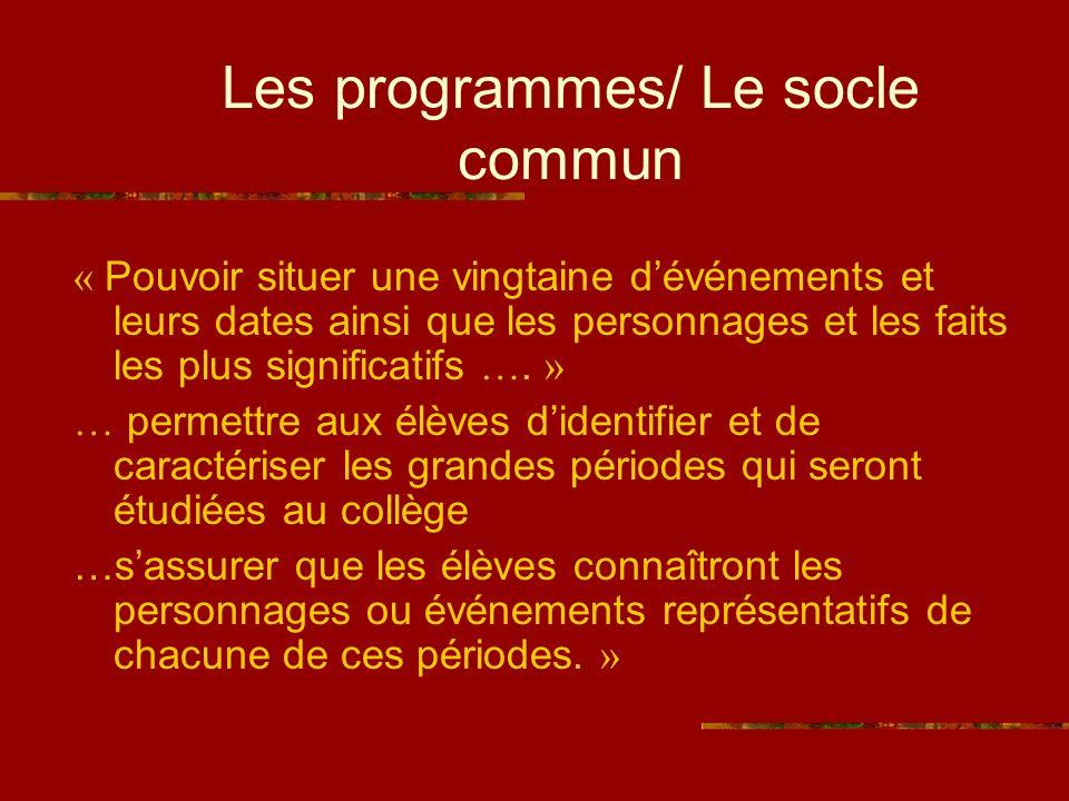 Les programmes/ Le socle commun « Pouvoir situer une vingtaine dévénements et leurs dates ainsi que les personnages et les faits les plus significatifs ….