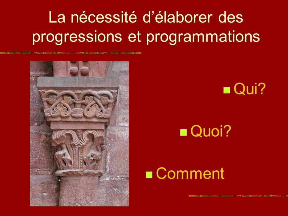 La nécessité délaborer des progressions et programmations Qui? Quoi? Comment