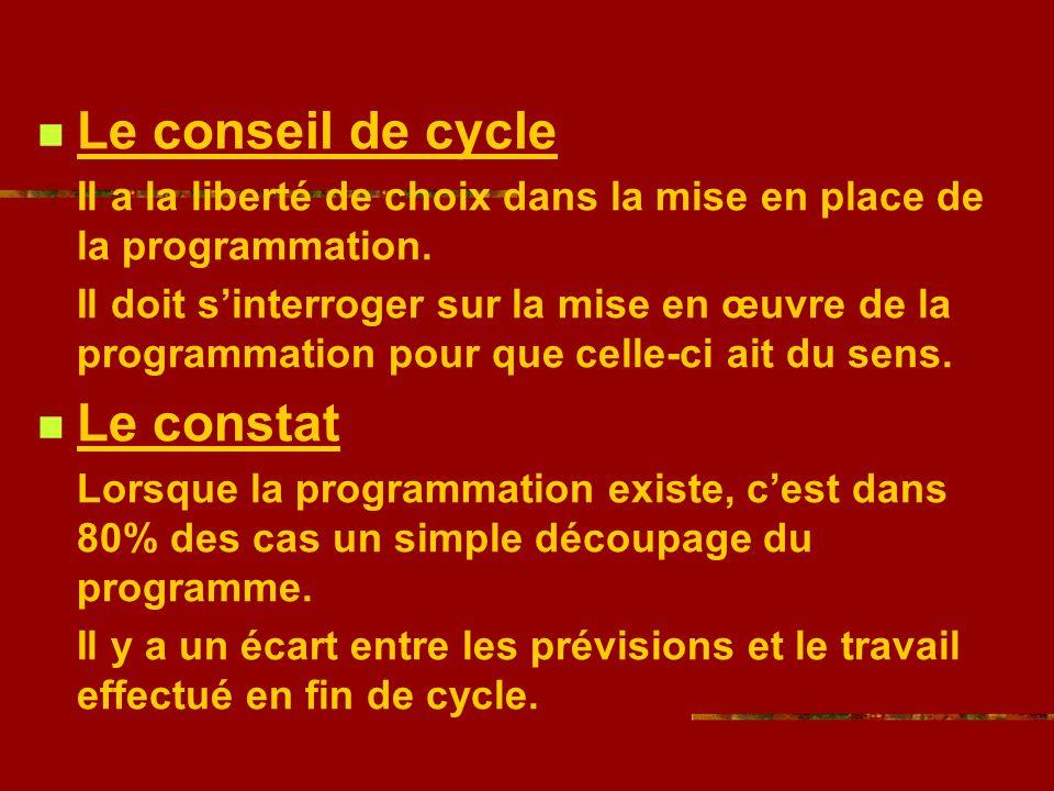 Le conseil de cycle Il a la liberté de choix dans la mise en place de la programmation.