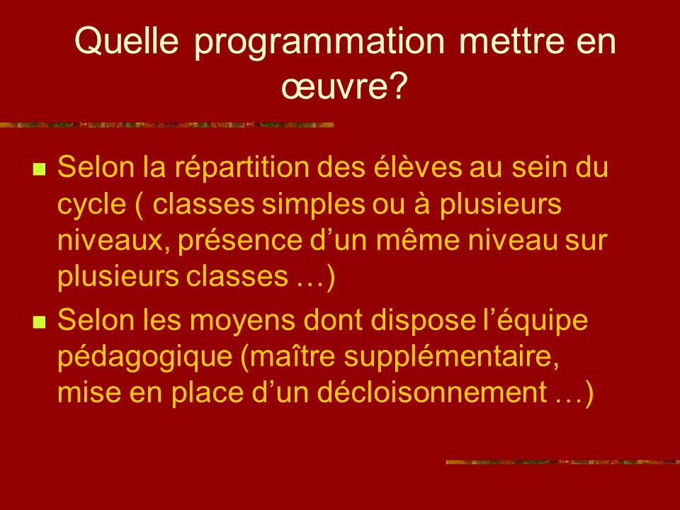 Trois principaux types de programmations La programmation segmentée La programmation spiralaire La programmation mixte